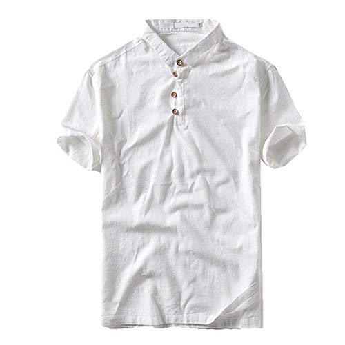 Otoño Verano Hombres Camiseta Manga Corta Algodón Lino Slim Casual Hombres Color Sólido Camisa