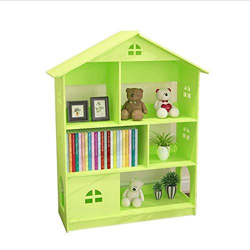 CHOUCHOU Shelves Bookcase Creative Castle Bookshelf Floor Small Student Storage Shelf (Color : GREEN, Size : 112 * 80 * 30cm),Size:112 * 80 * 30cm,Colour:Powder Flower Pot Rack