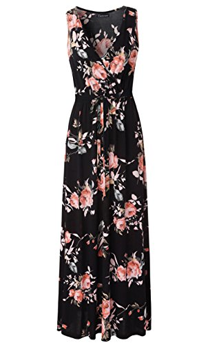Zattcas Womens V Neck Sleeveless Empire Waist Floral Maxi Dress,Black3,Small