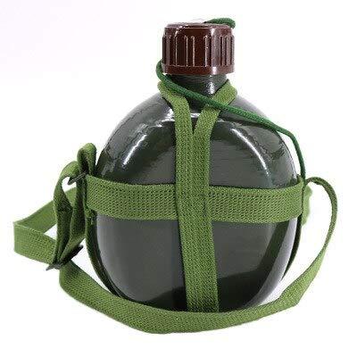 Hervidor Militar de Aluminio Botella de Vino Taza de Cocina con Correa para el Hombro Hervidor de Senderismo Herramienta para Exteriores 1L / 2L - 1.2L, Verde