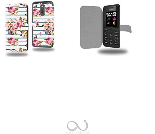 Sailor floreale con farfalla Collection Pattern Custodia Pelle Ultra Slim per Nokia 130 smartphone - Flip Case Funda Cover protettiva Nokia 130 PU Pelle - CASE Industry accessori