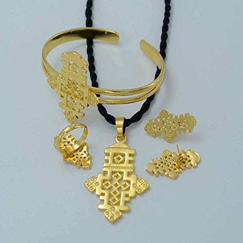 Aluyouqi Co.,ltd Collar Conjunto de Joyas con Cruz etíope Cadena Colgante de Color Dorado Pendientes Anillo Brazalete Regalo de Fiesta de Boda de Habesha