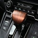 Wilove Peach Wood Grain /Carbon Fiber Gear Lever Shift Knob Cover Trim Car Interior Accessories for Honda CR-V CRV 2017-2021