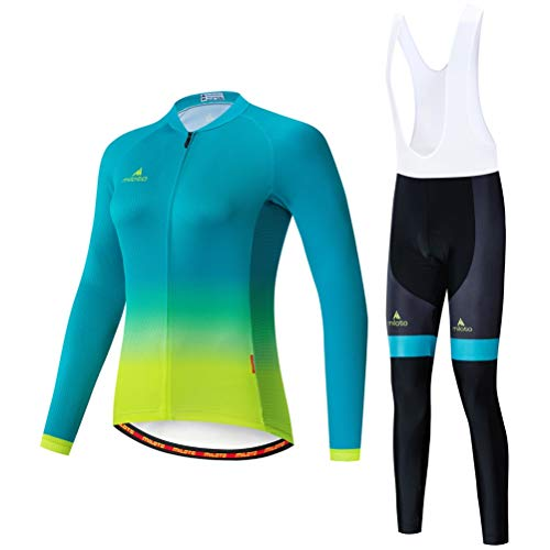 Uriah Women's Cycling Jersey Bib Pants White Sets Long Sleeve Reflective Green Yellow Size S(CN)
