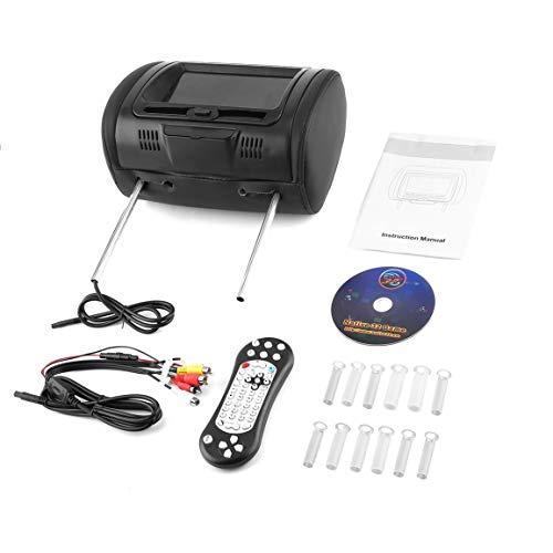 Bellaluee Universal 7'Reposacabezas Reproductor de DVD para automóvil Negro DVD para automóvil/USB/HDMI Monitores para reposacabezas para automóvil con Disco de Juegos Altavoces internos