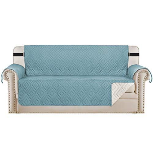 "Reversible Sofa Slipcover Furniture Protector Water Resistant 2 Inch Wide Elastic Straps Sofa Cover Couch Covers Pets Kids Fit Sitting Width Up to 66"" (Sofa, Stone Blue / Beige)"
