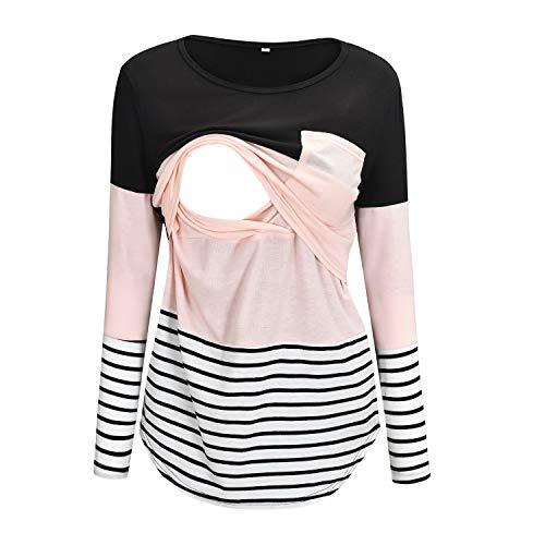 Nursing Shirt Long Sleeve Maternity Tops for Breastfeeding T-Shirt with Pocket M