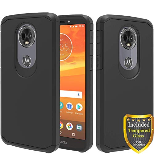 Moto E5 Plus Case, Moto E5 Supra Case, with Full Cover Tempered Glass Screen Protector, ATUS - Hybrid Dual Layer Protective TPU Case (Black/Black)