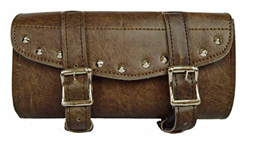 Distressed Brown Studded 2 Quick Release Buckle Motorcycle Tool Bag