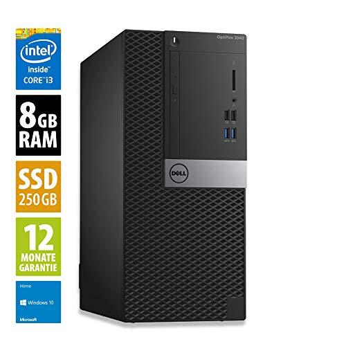 Dell OptiPlex 3040 MT - Core i3-6100 @ 3,7 GHz - 8GB RAM - 250GB SSD - DVD-RW - Win10Home (Zertifiziert und Generalüberholt)