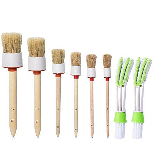 capelli naturali di cinghiale detail Brush (set of 6), con dettagli set di spazzole per pulizia ruote, cruscotto, interno, esterno, pelle, emblemi con 2PCS condizionatore d' aria pulita e spazzola
