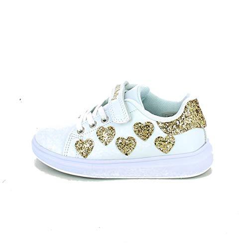 Lelli Kelly Sneakers Bassa con Cuori in Glitter Bianco, 31