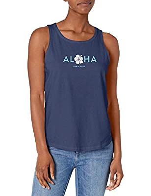 Life is Good Womens High-Low Crusher Graphic Tank Top, Aloha Darkest Blue, X-Large