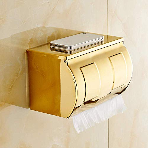 Gulakey Shelf of Tissue Stainless Steel Bathroom Paper Phone Holder with Shelf Bathroom Cell Phones Gold Towel Rack Toilet Paper Holder Tissue Boxes Wall-mounted