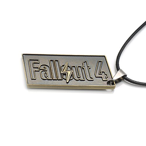 PS4 Game Fallout 4 Logo Alloy Bronze Necklace Pendant Black Chain (#1)