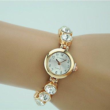 Fashion Watches Schöne Uhren, Damen Modeuhr Quartz Strass Legierung Band Bettelarmband Gold Marke (Farbe : Gold, Großauswahl : Einheitsgröße)