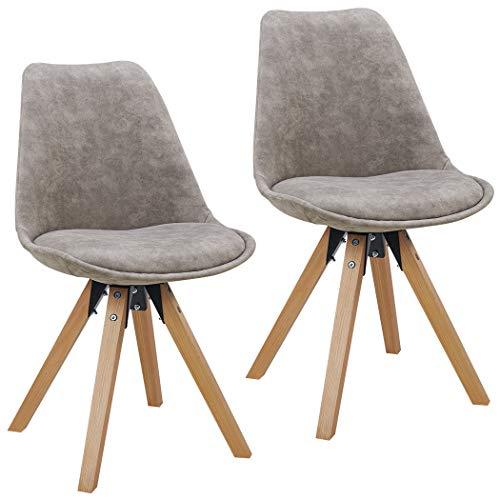 Duhome Set di 2 Sedia da Sala da Pranzo Design Retro con Cuscino Stil scandinavo con Piedini in Legno 518M, Colore:Grigio Chiaro, Materiale:Tessuto Effetto Cuoio