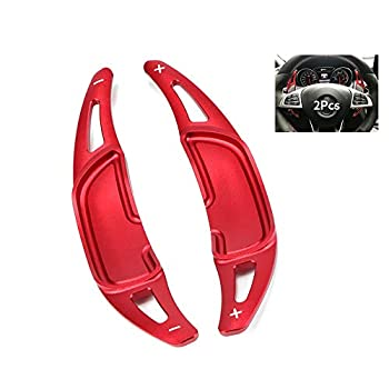 SANRILY Steering Wheel Paddle Shifter Extension for Mercedes Benz 2015-up AMG CLA45 C63 C43,2016-up AMG E63 E53 E43 Accessories Metal Shift Paddle Blade Replacement Kit Paddle-Shift Covers Red