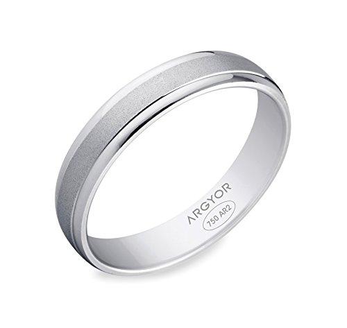 JANIS, www.diamants-perles.com-Alliance, per matrimonio, in oro bianco 750, 18 carati %2F1000, larghezza: 4 mm, Oro bianco 750/1000, 17, cod. 65B40044-57