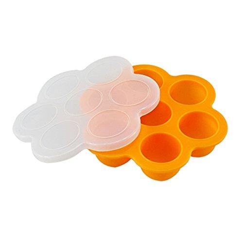 ZHOUBA Plateau en silicone avec compartiments pour nourriture de bébé, conteneur, bac avec couvercle pour congélateur, transportable, sans bisphénol A, silicone, Orange, taille unique