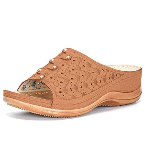 FAYHRH Sandalias de Playa de Beach,Mop trapeador Informal de Gran tamaño, Zapatillas de Damas de Fondo Grueso-marrón_43