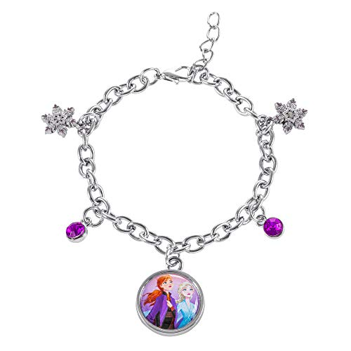 Disney Frozen 2 Sisters Elsa and Anna Fashion Charm Bracelet, 6.5 + 1
