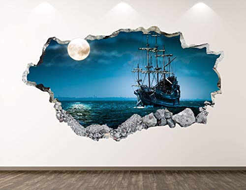 West Mountain Pirate Ship Wall Decal Art Decor 3D Smashed Ocean Moon Sticker Mural Kids Room Custom Gift BL112 (50