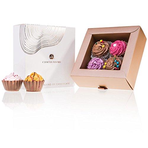 American Cupcakes 4 - vier handgemachter Cupcake-Pralinen - Geschenk - Weihnachten - Schokolade