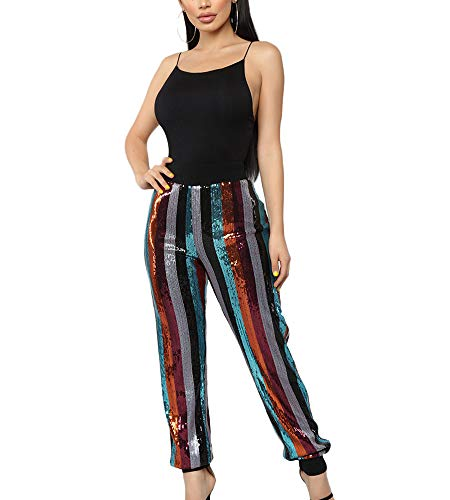 hellomiko Pantalones de Baile Hiphop con Lentejuelas a Rayas de Color para Mujer Pantalones de pie con viga Club