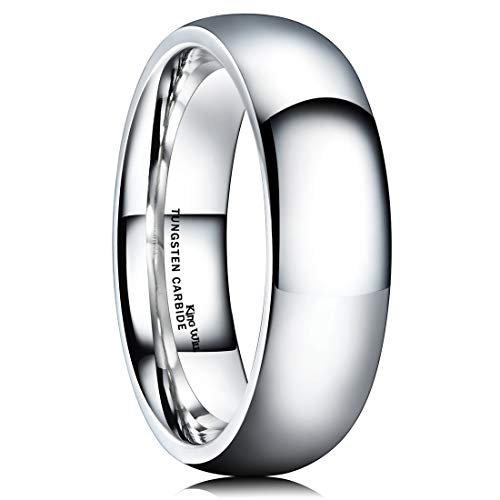 King Will Basic Men's 8mm Classic High Polished Comfort Fit Domed Tungsten Metal Ring Wedding Band(10)