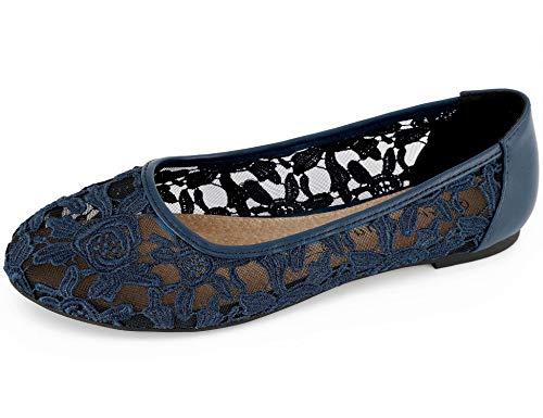 Greatonu Greatonu Damen Geschlossene Ballerinas Brautschuhe Spitze Flache Schuhe Blau Größe EU 38