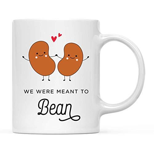 N\A Lustiges Essen Wortspiel Keramik Kaffee Tee Tasse Geschenk, Wir Waren gemeint zu Bohnen, Bohnen Händchen haltend Grafik, 1-Pack, Geburtstag Weihnachtsgeschenkideen