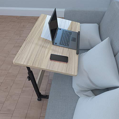 Homemark Height Adjustable Overbed Bedside Table, 180° Tiltable Home Computer Laptop Desk, Hospital Bed Desk Swivel Standing Table with Wheels, Walnut