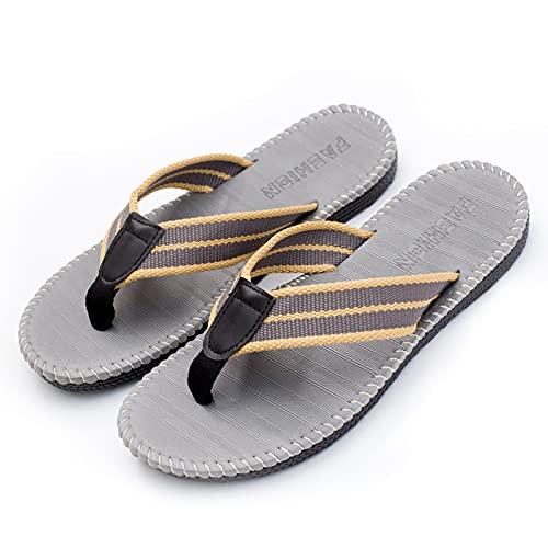 OldPAPA - Chanclas para hombre, sandalias de dedo cómodas con soporte de arco, suela de goma antideslizante para piscina de playa de verano al aire libre, gris