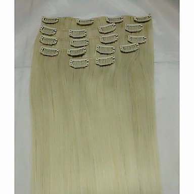 MZP 15 # 613 blanchiment remy blond extensions de cheveux humains 8pcs / set (70g) , 8pcs/pack