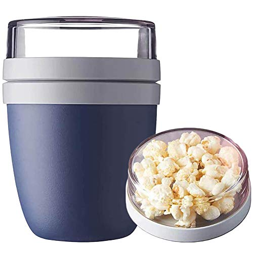 GUANGE 2 in 1 Insulated Lunch Cup, Lunch Container Anti-Leak Thermoses, Food Jar Portable Travel, Picnic Yogurt and Nuts Preservation Cup, Portable Travel Preservation Yogurt Cup, Navy Blue