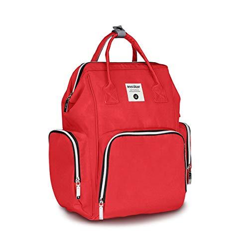 SONARINプレミアムマザーズバッグ、ベビーカーストラップ、ウェットワイプボックス、ベビーおむつ交換バックパック、おむつバッグ、旅行バックパックオーガナイザー、防水、大容量、スタイリッシュで耐久性、理想的なギフト(レッド)