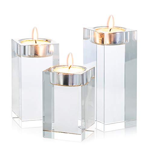 Sziqiqi 1-Set (3-teilig) hochwertige Kristall Glas Kerzenständer Kristalle Kerzenständer für Romantisches Abendessen kreative Kerzenständer Hochzeit Haus Deko Esstisch und Bar, Platz