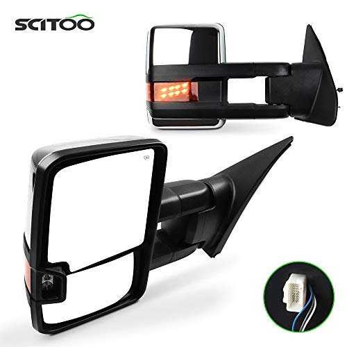 SCITOO Towing Mirror with Chrome Black Mirror fit 2007-2015 for Toyota for Tundra Truck with Turn Signal Power Control Heated Manual Telescoping Folding Lens Turn Signal Lens and Auxiliary Light