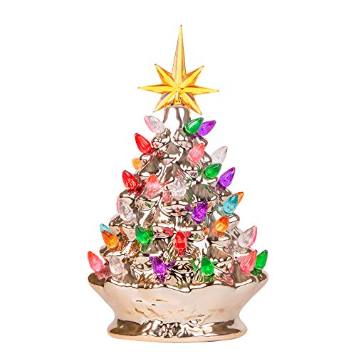RJ Legend 9.6-Inch Champagne Gold Ceramic Christmas Tree – Pre-lit Winter Tree Décor with Multicolor Lights – Mini Decorated Christmas Tree for Home – Vintage Holiday Lights