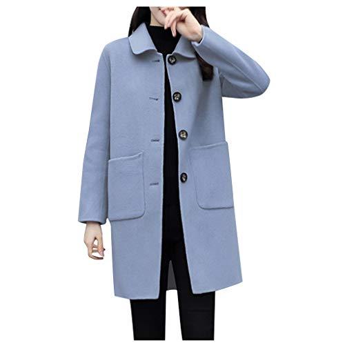 Xmiral Giacca Parka Trapuntato Inverno Cappotto da Donna in Lana a Media Lunghezza a Pelo Lungo (L,Blu)