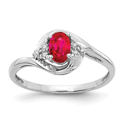 14ct de oro blanco de genuino de rubí anillo de diamantes en bruto - JewelryWeb