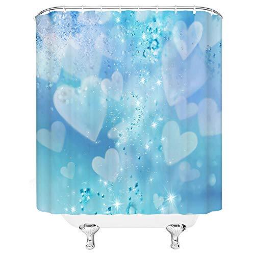 None brand Moderne einfache Duschvorhänge Rot Blau Liebe Herz Wassertropfen Badezimmer Dekor Home Bad Stoff Hängenden Vorhang Set Mit Haken-B150xH180cm