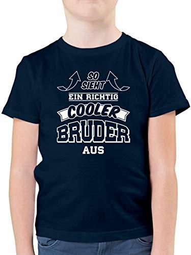 Geschwister Bruder - So Sieht EIN richtig Cooler Bruder aus - 164 (14/15 Jahre) - Dunkelblau - Geschenk Junge 12 Jahre - F130K - Kinder Tshirts und T-Shirt für Jungen