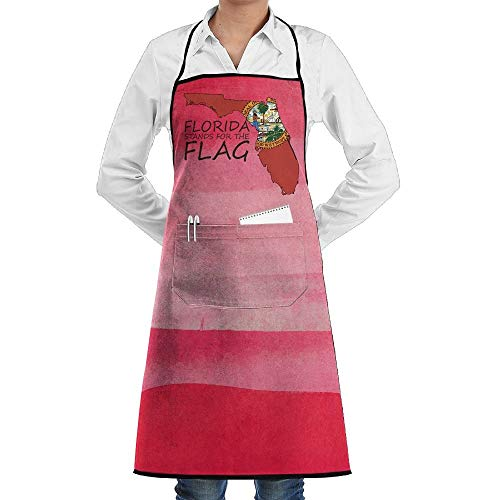 July flower Florida Map Aprons Kitchen Chef Bib Aprons Gift Apron Professional for Grill,BBQ,Baking,Cooking for Men Women,with Front Pockets,Black
