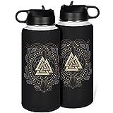 KittyliNO5 Botella de acero inoxidable de viaje con diseño de runas vikingas, valknut, taza aislada al vacío, taza con tapa...
