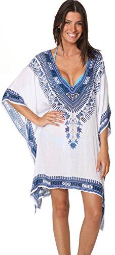 INGEAR Fashion Cover Up Summer Hawaiian Poncho Print Tunic Hem Tops Beachwear (One Size, Blue/White)