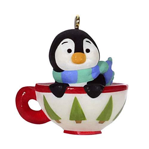 Hallmark Keepsake Mini Christmas Ornament 2019 Year Dated Petite Penguins Cozy Cup Miniature, 0.95'