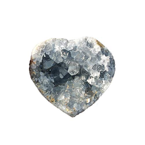 KDHJY Natural 1PC Azul Celestina Natural Mineral Corazón-Forma cristalina Cluster Geode Irregular de la Gema Piedra cristalina de la decoración del hogar del espécimen Cuarzo Rosa
