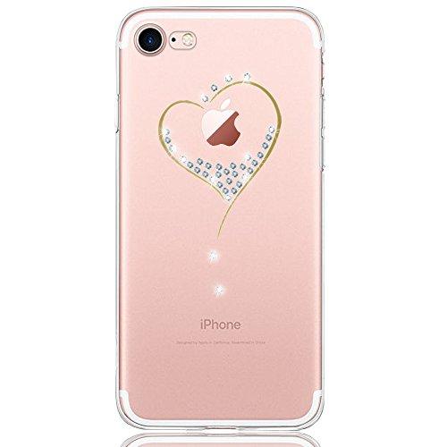 Oveo Funda iPhone 7/8, Serie Dolce Vita Carcasa Transparente Silicona para Mujer/Chica con diseño de Corazón Cristal Glitter